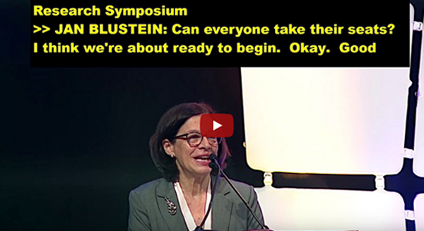 HLAA2019 Research Symposium Video Screenshot of Jan Blustein speaking