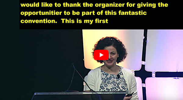 HLAA2019 Research Symposium Video Screenshot of Hela Azaiez speaking