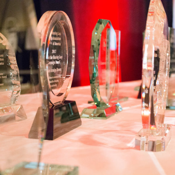 Photo of crystal awards on a table.