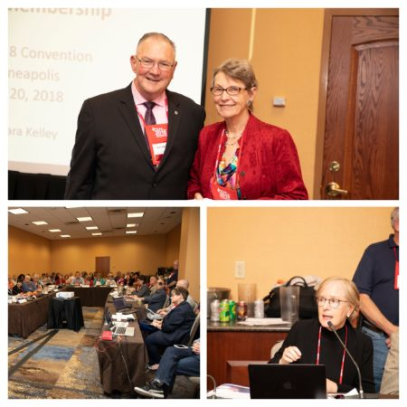 Collage of 3 photos (awards presented, photo of whole room) from the Open Board Meeting