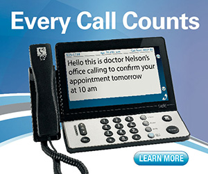 CapTel banner ad with a caption phone