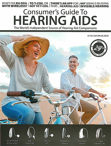 Consumers Guide Hearing Aids cover with a grandpa and grandson