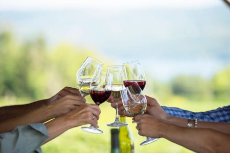 Photo of people holding wine glasses