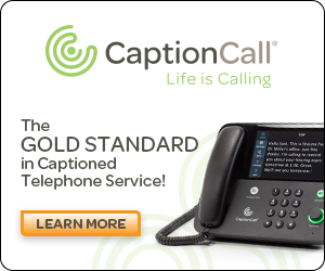CaptionCall banner ad with an image of a caption phone