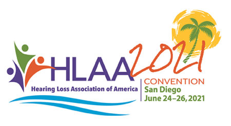 HLAA2021 logo - Hearing Loss Association of America Convention in San Diego, June 24-26, 2021