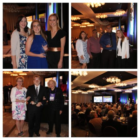 Collage of four photos from the Awards Gala (winners posing and crowd)