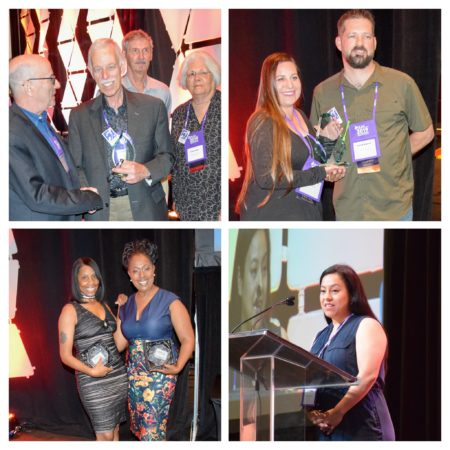 Collage of four photos from the State and Chapter Awards (three of winners posing with award and one making a speech)