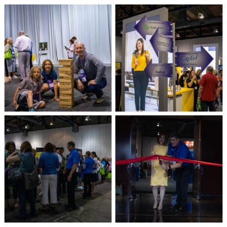 Collage of four photos from the exhibit hall (cutting the ribbon, crowd , signs and family playing Jenga)