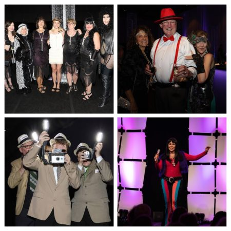 Collage of four photos from the Get Acquainted Party (GAP) - photographers, performer, and people posing in their 1920's garb