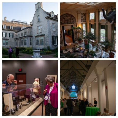 Collage of four photos taken at the George Eastman Museum (facade of building, interior and people looking at cameras)
