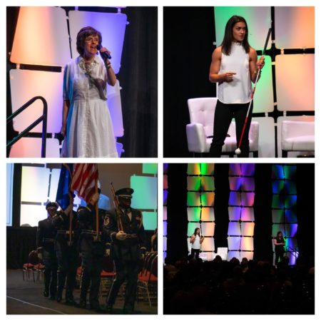 Collage of four photos from the Opening Session (national anthem singer, keynote speaker, crowd, and military carrying flags