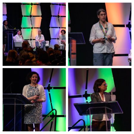 Collage of four photos from the Research Symposium of all speakers