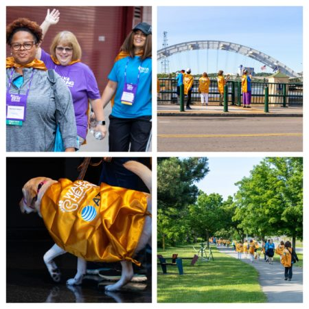 Collage of four photos of the Walk4Hearing at HLAA2019 Convention (people walking and a dog wearing a cape)