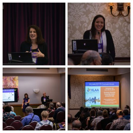 Collage of four photos from the workshops (crowd and speakers)