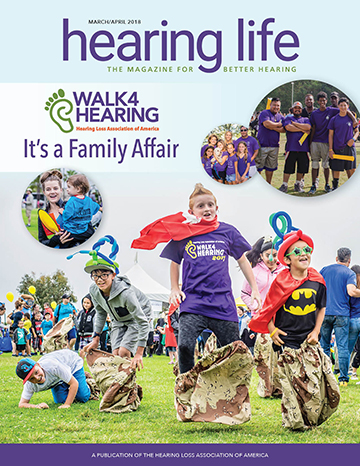 Hearing Life March/April issue cover with children jumping around and images of team photos