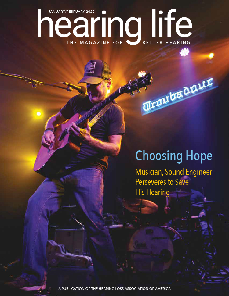HLAA Hearing Life 2020 January/February Cover with musician playing guitar and drummer in the background