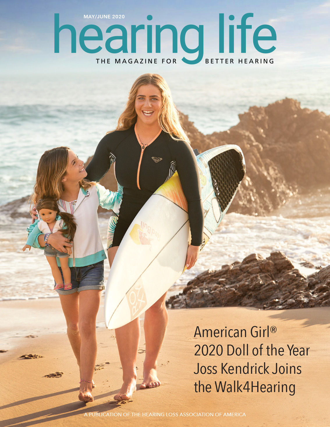 HLAA Hearing Life 2020 May/June Cover with two young ladies at the beach and American Girl 2020 Doll of the Year Joss Kendrick.