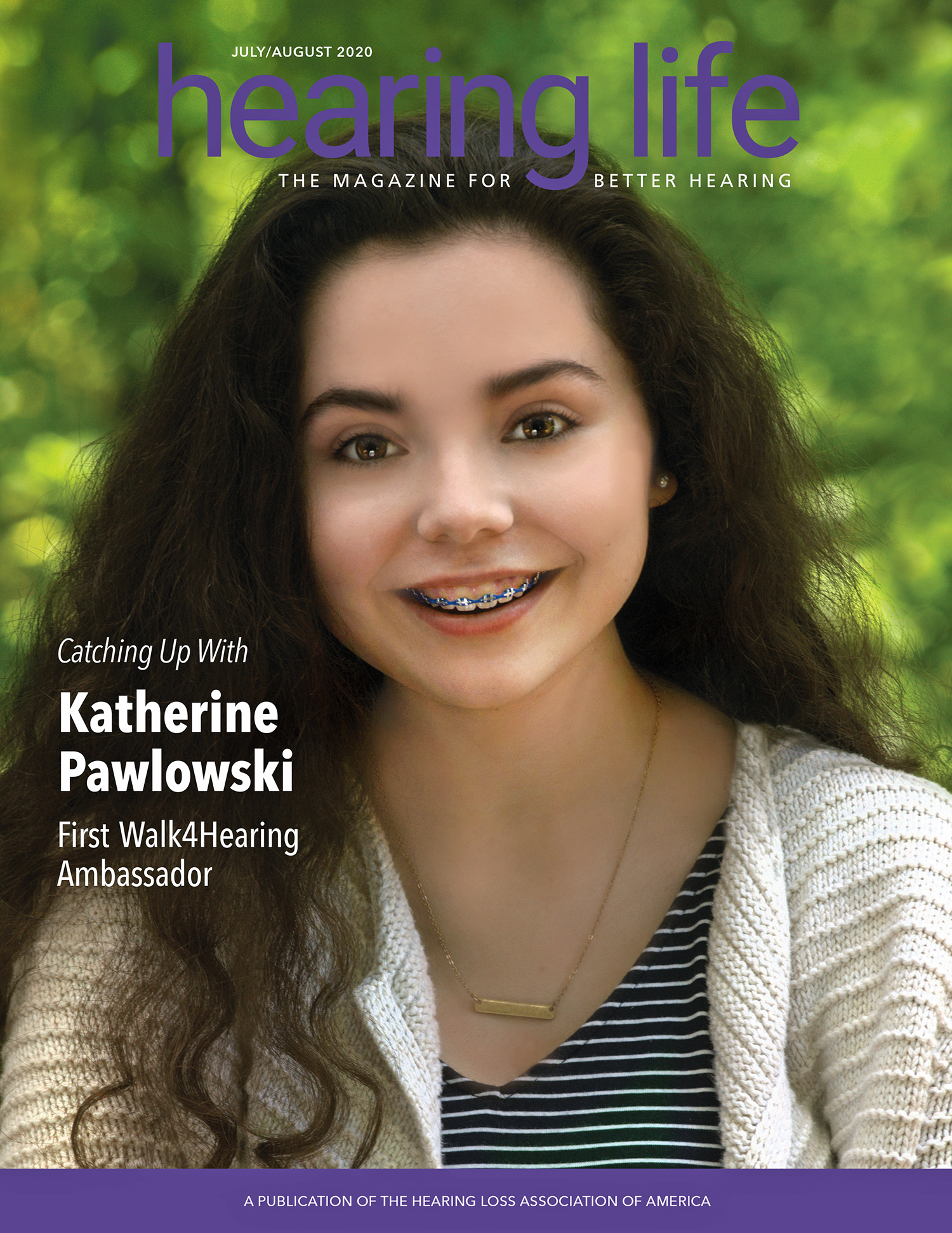 HLAA Hearing Life 2020 July/August Cover with Katherine Pawlowski.