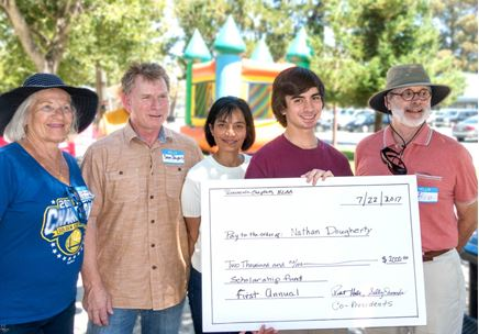 HLAA Peninsula Chapter Students Receiving Scholarships holding big check