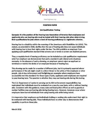 Position Paper Job Qualification Testing - Hearing Loss Association