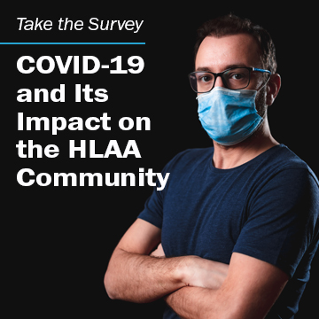 "Man folding arms wearing a mask with the words ""COVID-19 and its Impact on the HLAA Community"