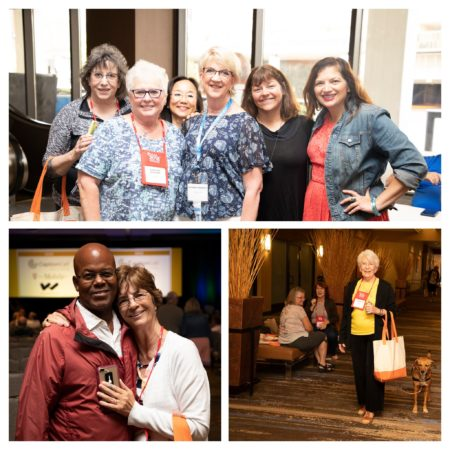 Collage of candid 3 photos (group of attendees, couple, lady with hearing dog) from HLAA2018 Convention