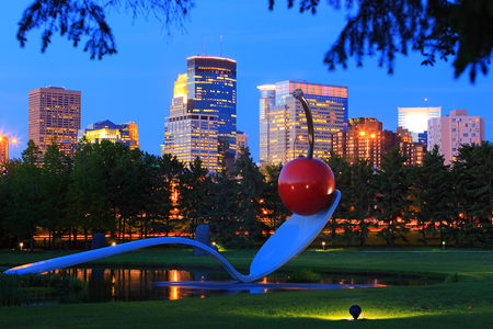 spoonbridge and cherry at the Minneapolis sculpture garden in the night time