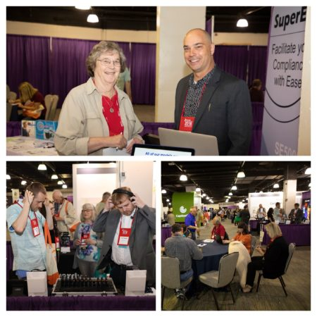 Collage of 3 photos (people talking and trying on assistive listening devices) from exhibit hall