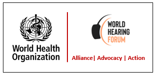 World Health Organization logo and World Hearing Forum logo