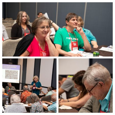 Collage of 3 photos (attendees listening to speaker, speaker doing presentation, attendees reading) from the Leadership Workshop.