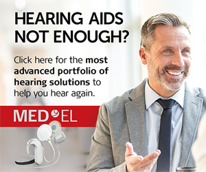 MED-EL AD (man with hearing aid and talking to someone) - Hearing Aids Not Enoug? Click here for the most advanced portfolio of hearing solutionsto help you hear better.