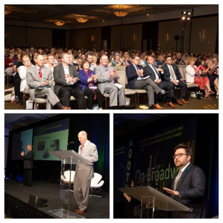 Collage of 3 photos (crowd, two speakers) from the Opening Session.