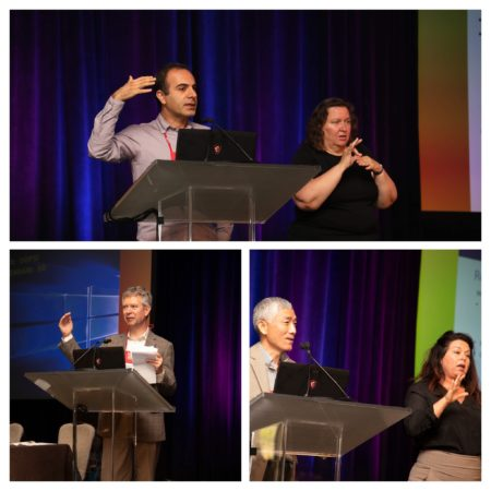 Collage of 3 photos (3 speakers and ASL interpreters) from the Research Symposium