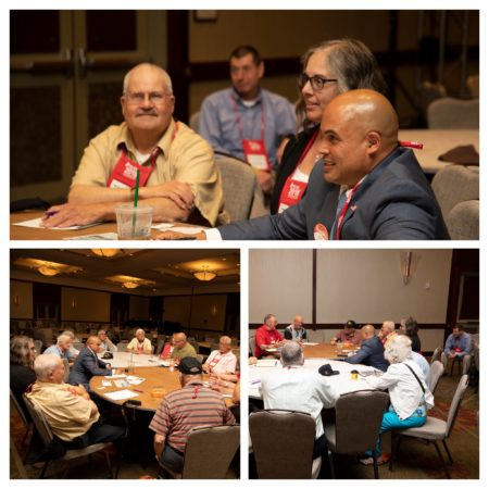 Collage of 3 photos (round table of veterans talking and smiling) from the Veteran Meeting