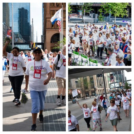 Collage of 3 photos (crowd people walking) from the Walk4Hearing