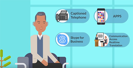 Workplace Video Screenshot of figure sitting down and four HAT options displaying: Captioned Telephones, Apps, Skype for business, and CART