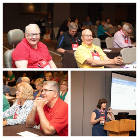 Collage of 3 photos (people smiling and listening to speaker) from the Workshops